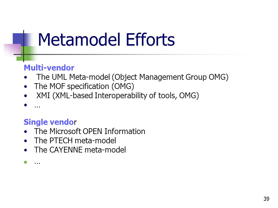 39 Metamodel Efforts Multi-vendor The UML Meta-model (Object Management Group OMG) The MOF specification (OMG) XMI (XML-based Interoperability of tools, OMG) … Single vendor The Microsoft OPEN Information The PTECH meta-model The CAYENNE meta-model …