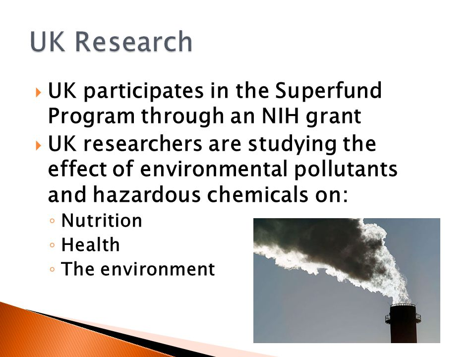  UK participates in the Superfund Program through an NIH grant  UK researchers are studying the effect of environmental pollutants and hazardous chemicals on: ◦ Nutrition ◦ Health ◦ The environment