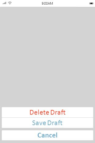 9:00AM Delete Draft Save Draft Cancel Action Sheet