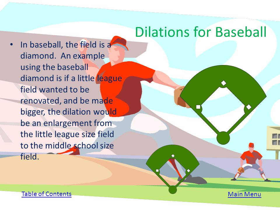 What are the coordinates of the baseball field if the scale factor is 1/3 with the center point (-2,0) A= (-5,1) B= (-2,4) C= (-2,3) D= (1,1) Table of