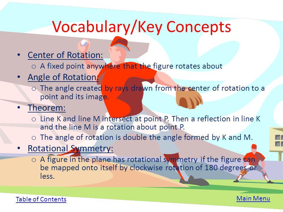 Rotation Rotation: o A transformation where a figure is turned around a center of rotation. o A rotation is an isometry (a transformation where the fi