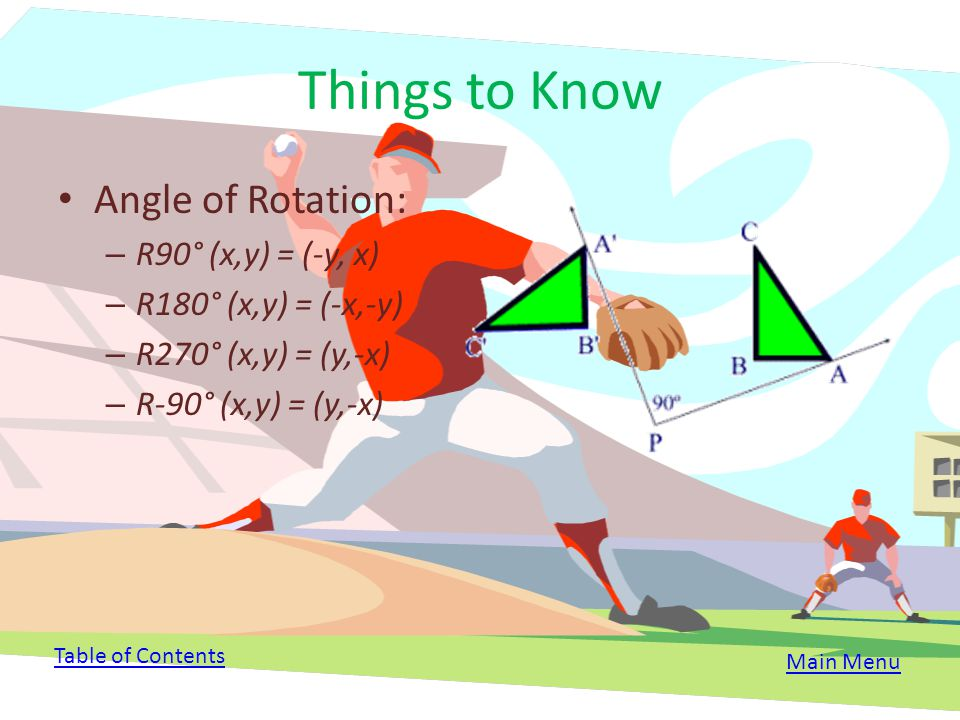 Vocabulary/Key Concepts Center of Rotation: o A fixed point anywhere that the figure rotates about Angle of Rotation: o The angle created by rays draw
