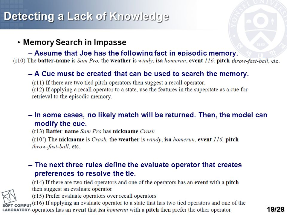 Detecting a Lack of Knowledge Memory Search in Impasse –Assume that Joe has the following fact in episodic memory. –A Cue must be created that can be