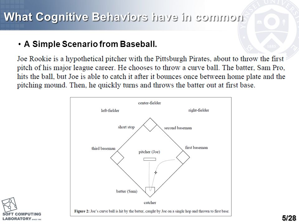 What Cognitive Behaviors have in common A Simple Scenario from Baseball. 5/28
