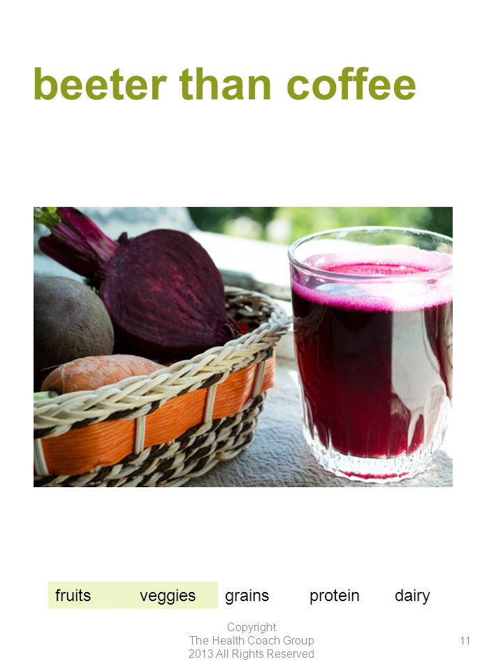 beeter than coffee Copyright The Health Coach Group 2013 All Rights Reserved 11 fruitsveggiesgrainsproteindairy
