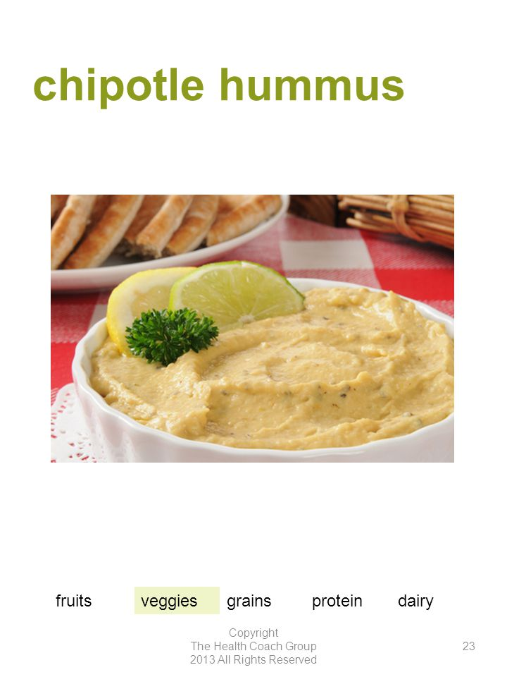 chipotle hummus Copyright The Health Coach Group 2013 All Rights Reserved 23 fruitsveggiesgrainsproteindairy