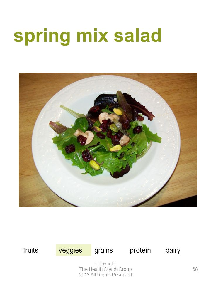 spring mix salad Copyright The Health Coach Group 2013 All Rights Reserved 68 fruitsveggiesgrainsproteindairy