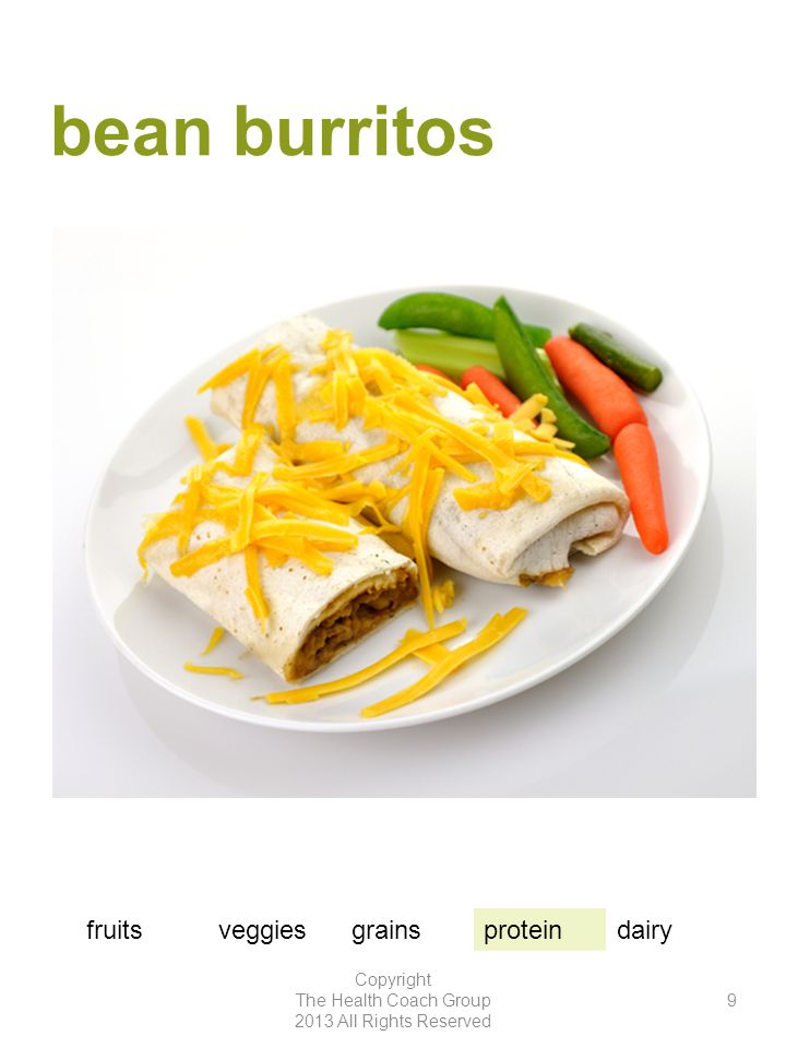 bean burritos Copyright The Health Coach Group 2013 All Rights Reserved 9 fruitsveggiesgrainsproteindairy