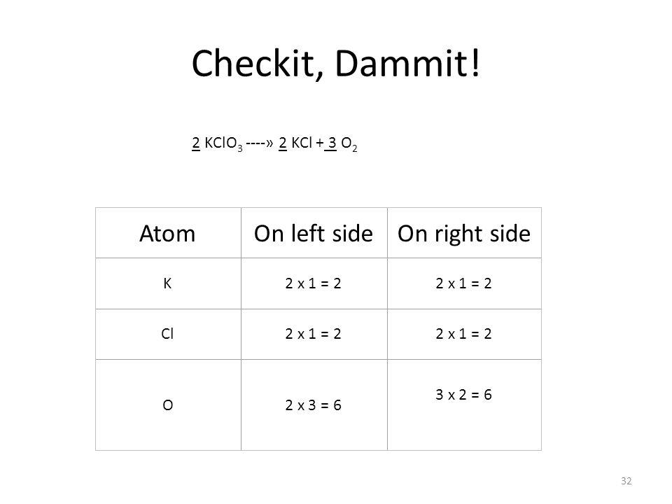 Checkit, Dammit! 2 KClO 3 ----» 2 KCl + 3 O 2 AtomOn left sideOn right side K2 x 1 = 2 Cl2 x 1 = 2 O2 x 3 = 6 3 x 2 = 6 32