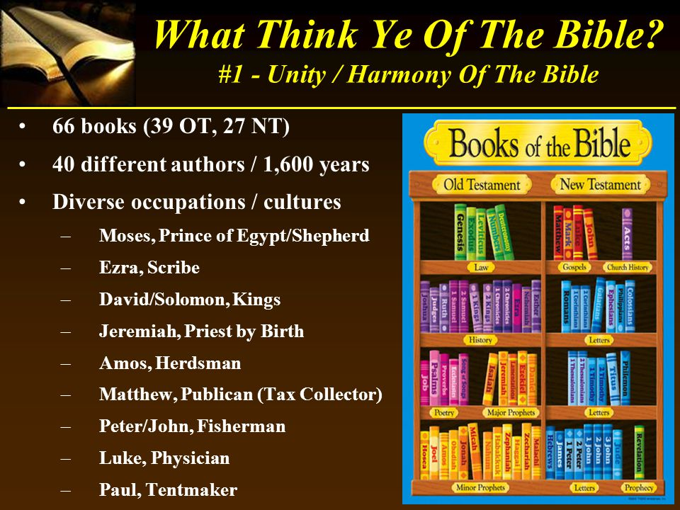 66 books (39 OT, 27 NT) 40 different authors / 1,600 years Diverse occupations / cultures –Moses, Prince of Egypt/Shepherd –Ezra, Scribe –David/Solomo