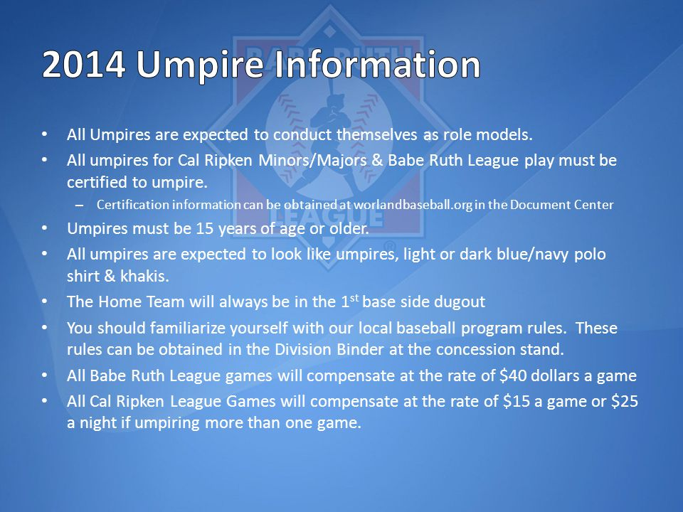 All Umpires are expected to conduct themselves as role models.
