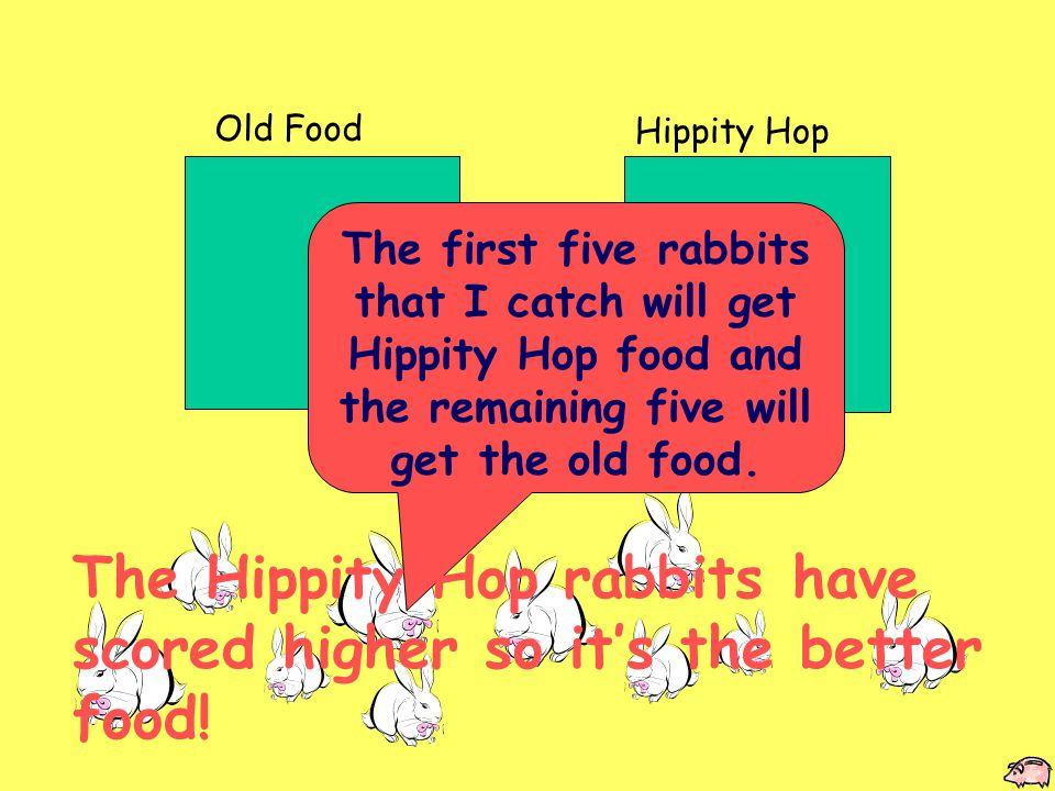 Old Food Hippity Hop The first five rabbits that I catch will get Hippity Hop food and the remaining five will get the old food.