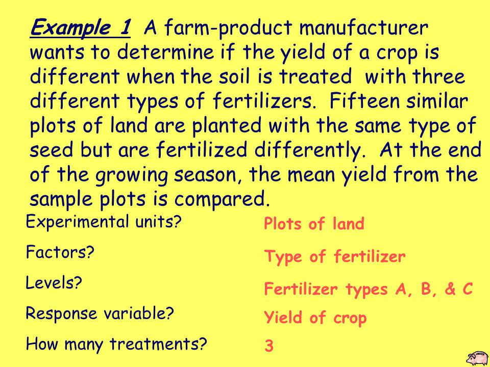 Example 1 A farm-product manufacturer wants to determine if the yield of a crop is different when the soil is treated with three different types of fertilizers.