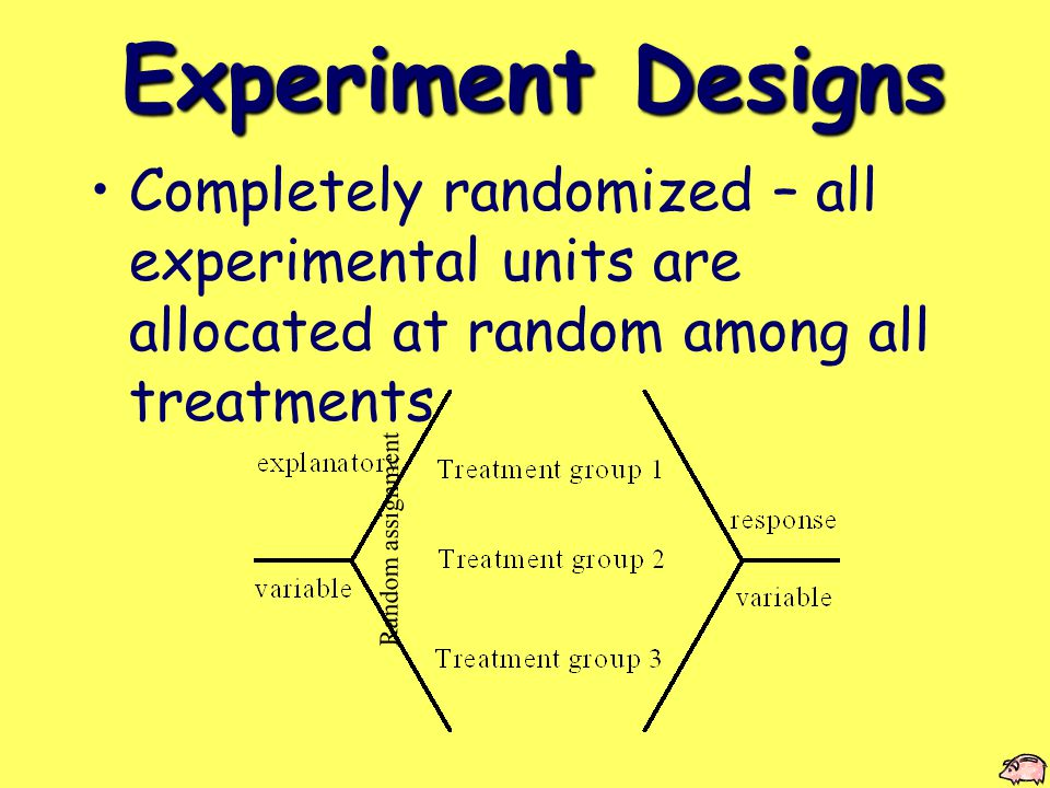 Experiment Designs Completely randomized – all experimental units are allocated at random among all treatments Random assignment