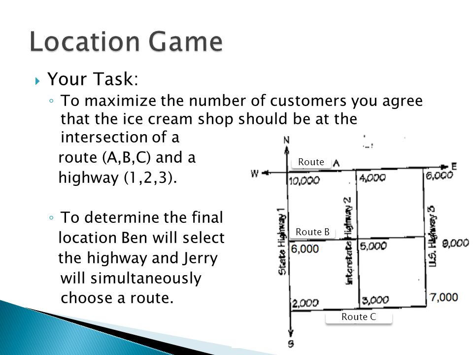  Your Task: ◦ To maximize the number of customers you agree that the ice cream shop should be at the intersection of a route (A,B,C) and a highway (1,2,3).