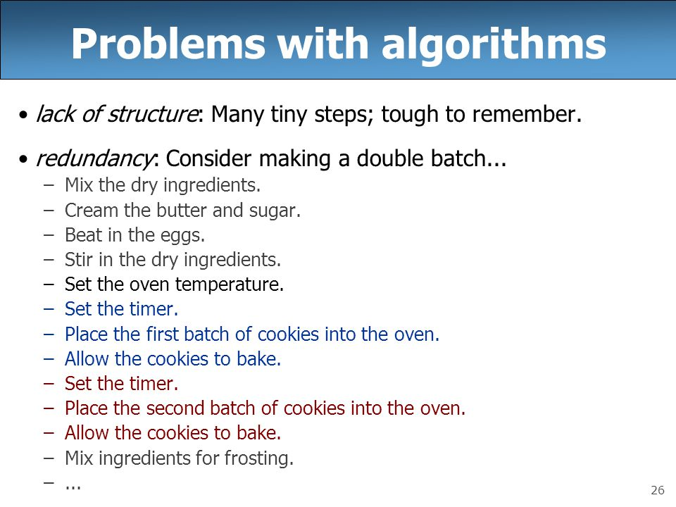 26 Problems with algorithms lack of structure: Many tiny steps; tough to remember. redundancy: Consider making a double batch... –Mix the dry ingredie
