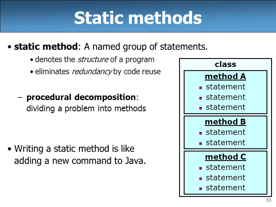 30 Static methods static method: A named group of statements.