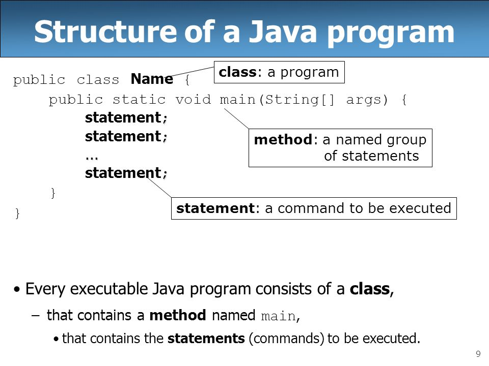 9 Structure of a Java program public class Name { public static void main(String[] args) { ; statement ;...... ; statement ; } Every executable Java p