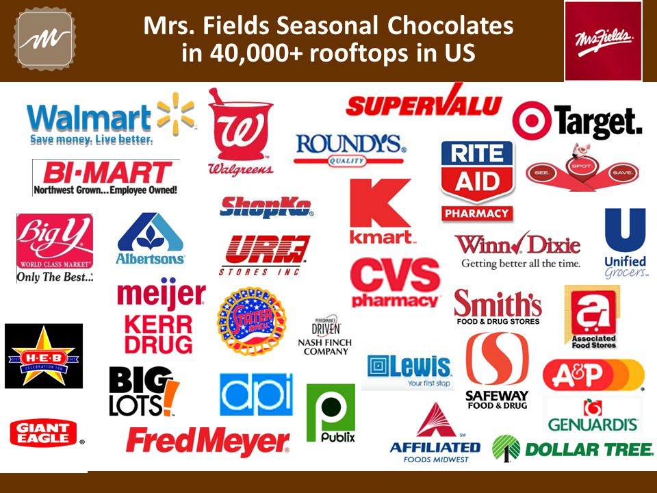 Mrs. Fields Seasonal Chocolates in 40,000+ rooftops in US
