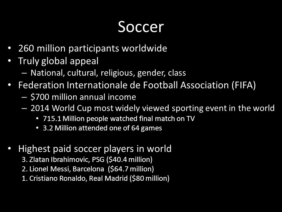 Soccer 260 million participants worldwide Truly global appeal – National, cultural, religious, gender, class Federation Internationale de Football Association (FIFA) – $700 million annual income – 2014 World Cup most widely viewed sporting event in the world 715.1 Million people watched final match on TV 3.2 Million attended one of 64 games Highest paid soccer players in world 3.