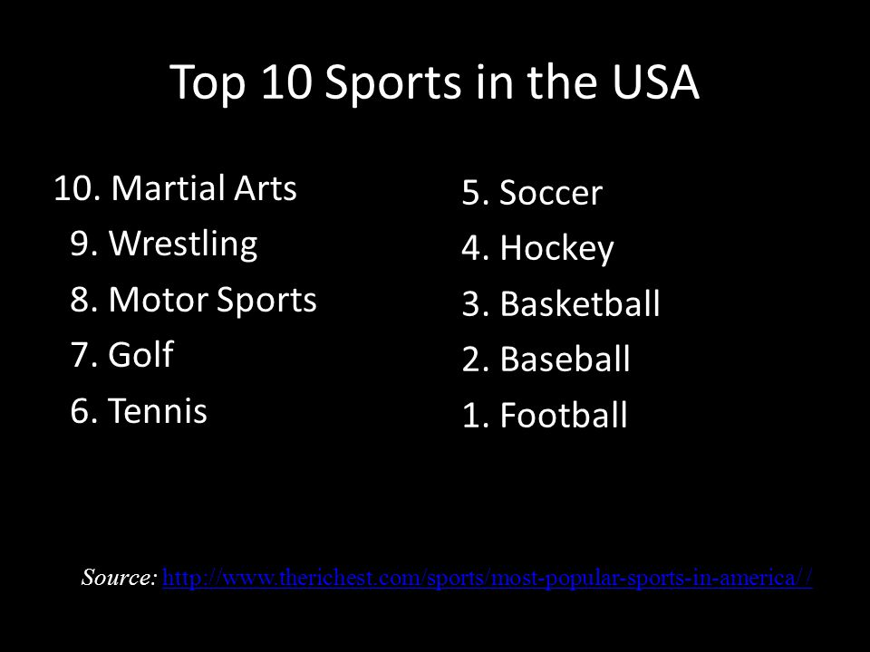 Top 10 Sports in the USA 10. Martial Arts 9. Wrestling 8.
