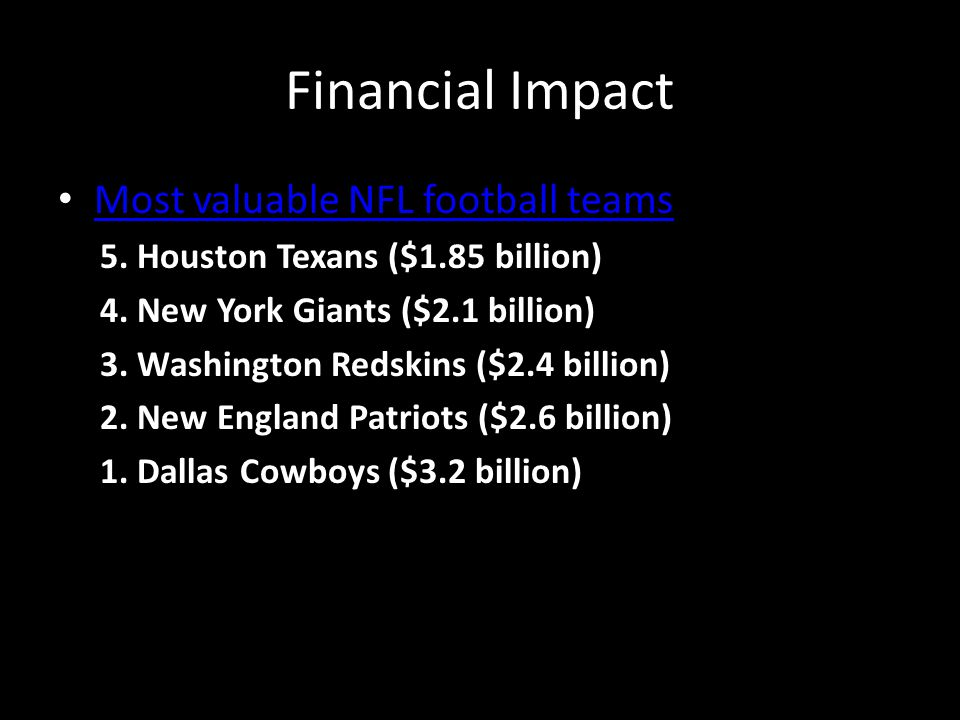 Financial Impact Most valuable NFL football teams 5. Houston Texans ($1.85 billion) 4. New York Giants ($2.1 billion) 3. Washington Redskins ($2.4 bil