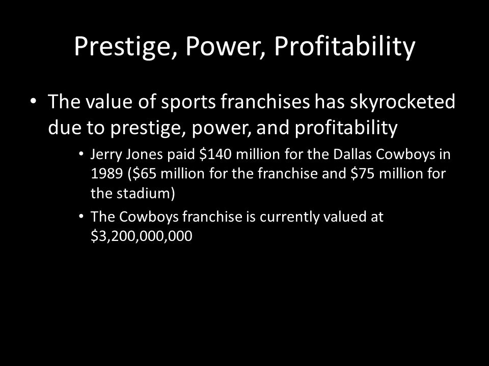 Prestige, Power, Profitability The value of sports franchises has skyrocketed due to prestige, power, and profitability Jerry Jones paid $140 million for the Dallas Cowboys in 1989 ($65 million for the franchise and $75 million for the stadium) The Cowboys franchise is currently valued at $3,200,000,000