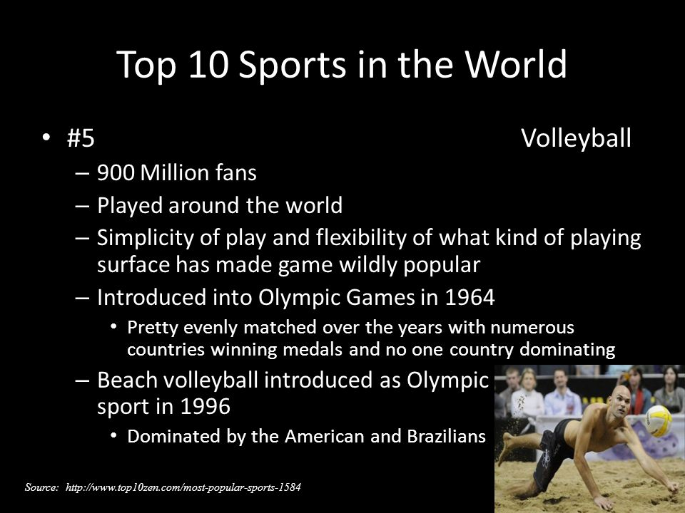 Top 10 Sports in the World #5Volleyball – 900 Million fans – Played around the world – Simplicity of play and flexibility of what kind of playing surface has made game wildly popular – Introduced into Olympic Games in 1964 Pretty evenly matched over the years with numerous countries winning medals and no one country dominating – Beach volleyball introduced as Olympic sport in 1996 Dominated by the American and Brazilians Source: http://www.top10zen.com/most-popular-sports-1584