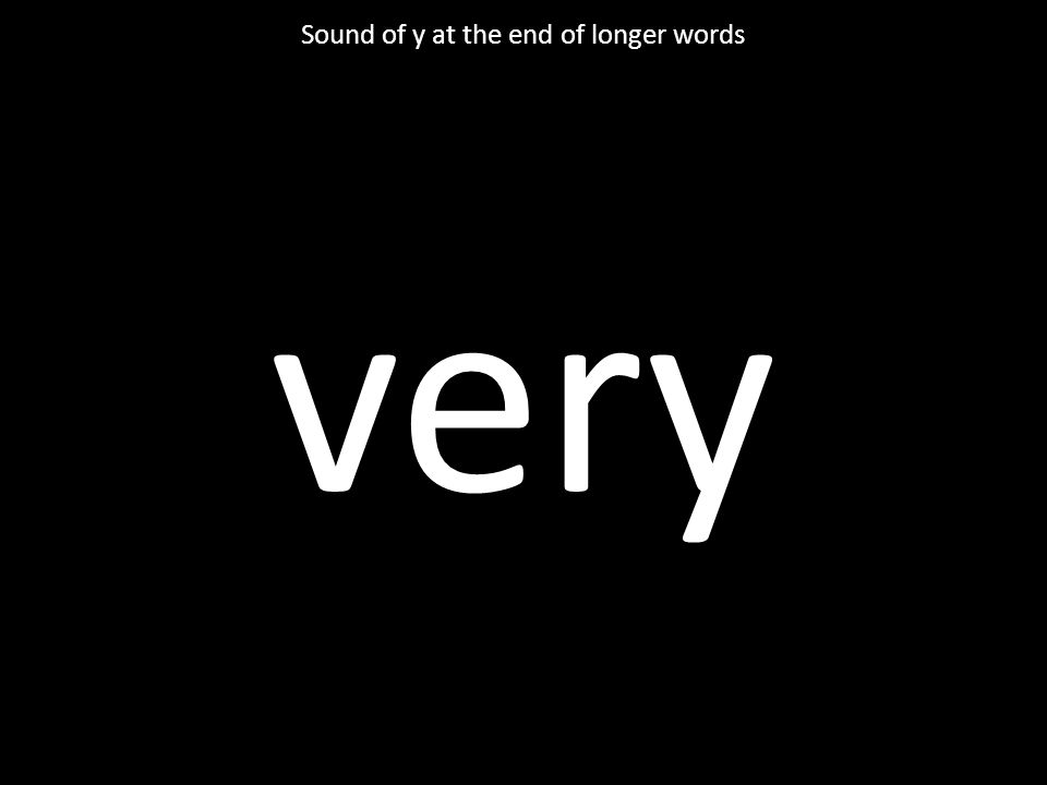 very Sound of y at the end of longer words