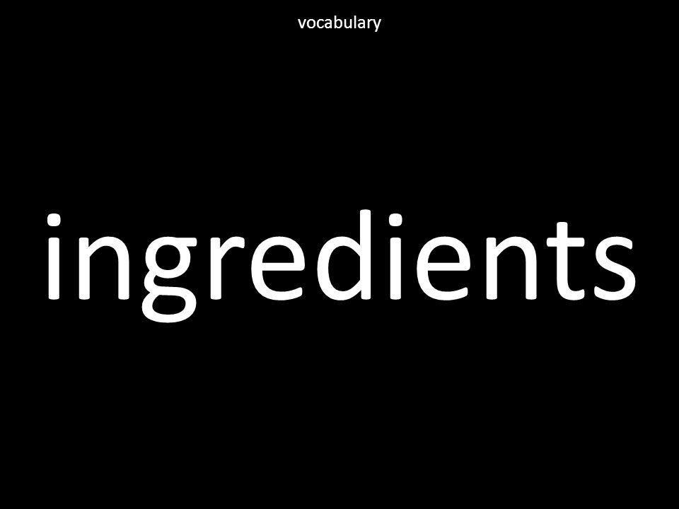 ingredients vocabulary
