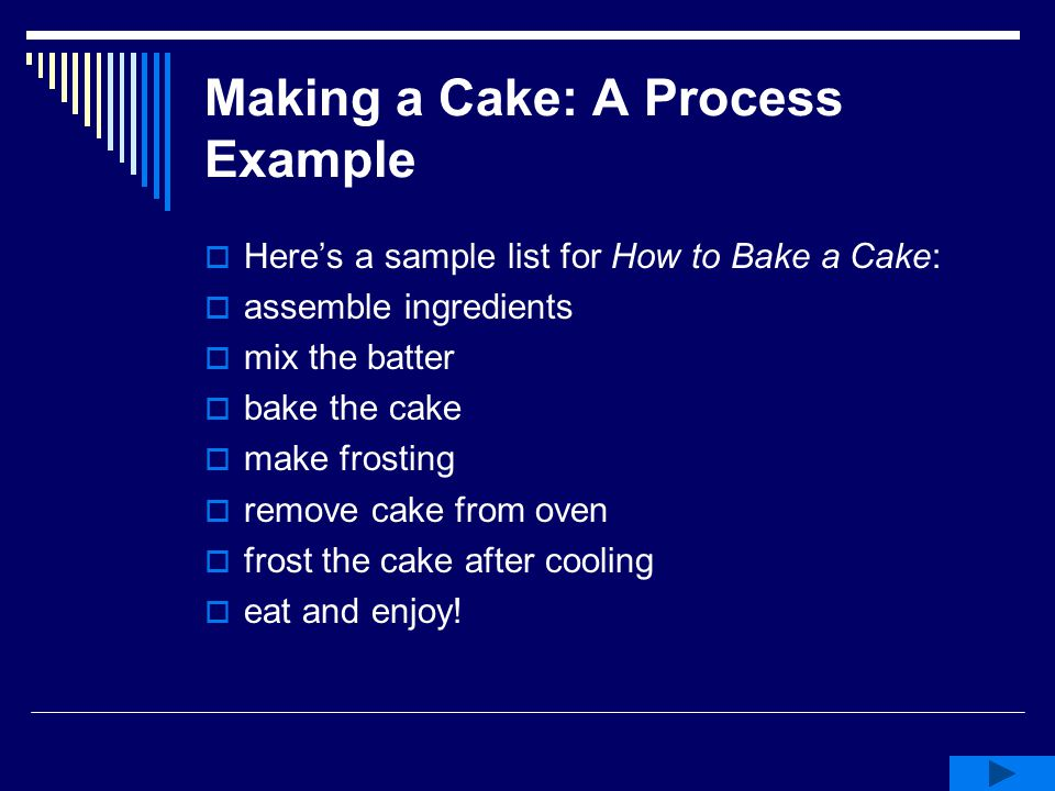Making a Cake: A Process Example  Here's a sample list for How to Bake a Cake:  assemble ingredients  mix the batter  bake the cake  make frostin