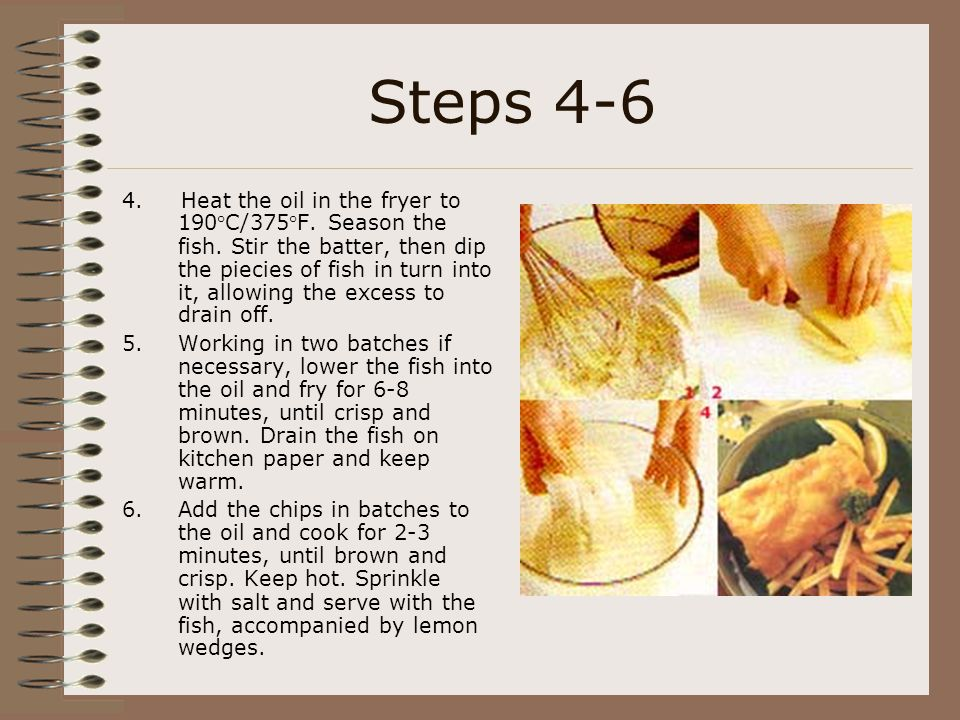 Steps 4-6 4.Heat the oil in the fryer to 190°C/375°F.