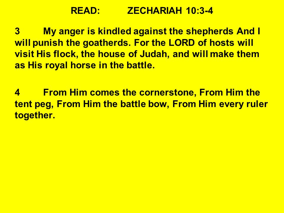 READ:ZECHARIAH 10:3-4 3My anger is kindled against the shepherds And I will punish the goatherds.