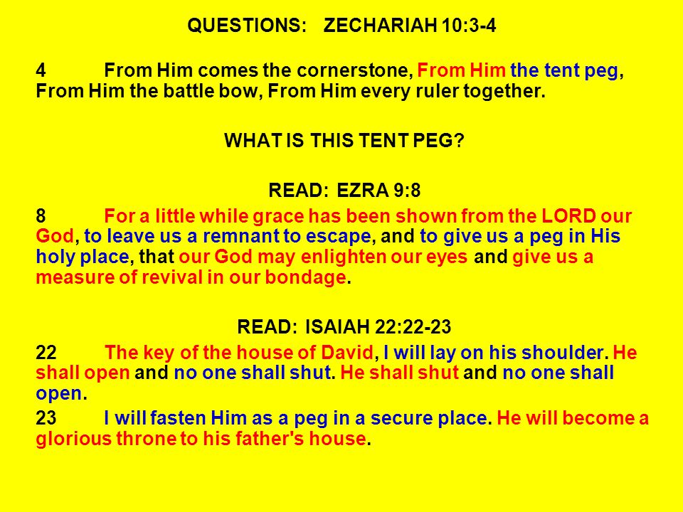 QUESTIONS:ZECHARIAH 10:3-4 4From Him comes the cornerstone, From Him the tent peg, From Him the battle bow, From Him every ruler together.