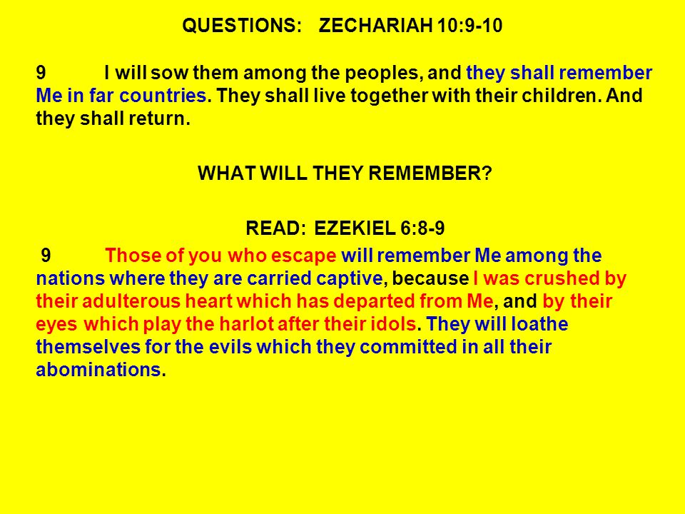 QUESTIONS:ZECHARIAH 10:9-10 9I will sow them among the peoples, and they shall remember Me in far countries.