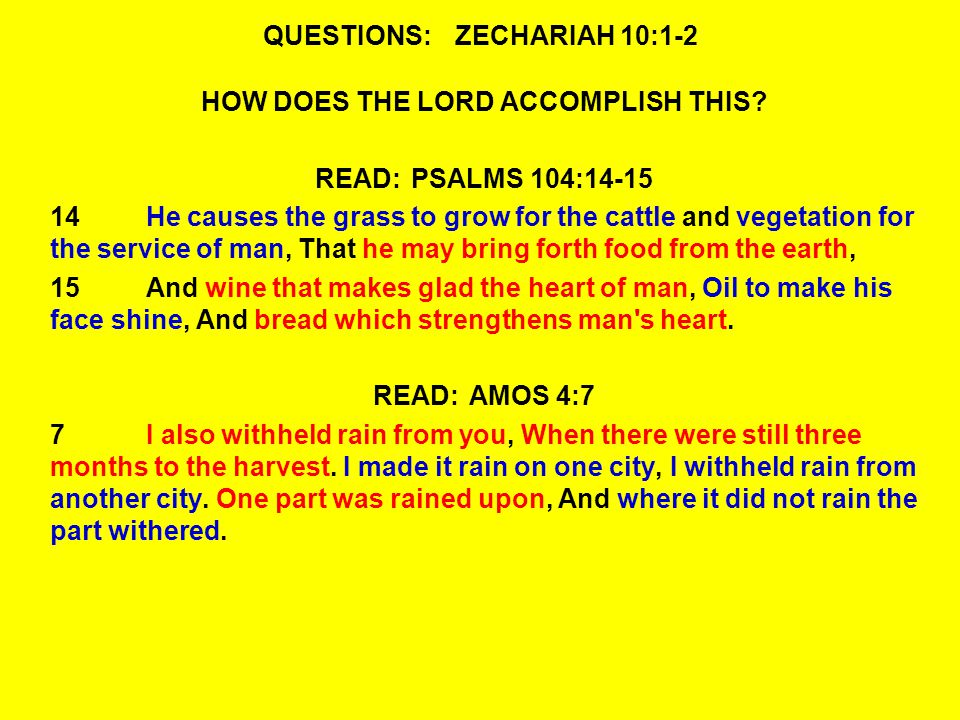 QUESTIONS:ZECHARIAH 10:9-10 10I will also bring them back from the land of Egypt, and gather them from Assyria.