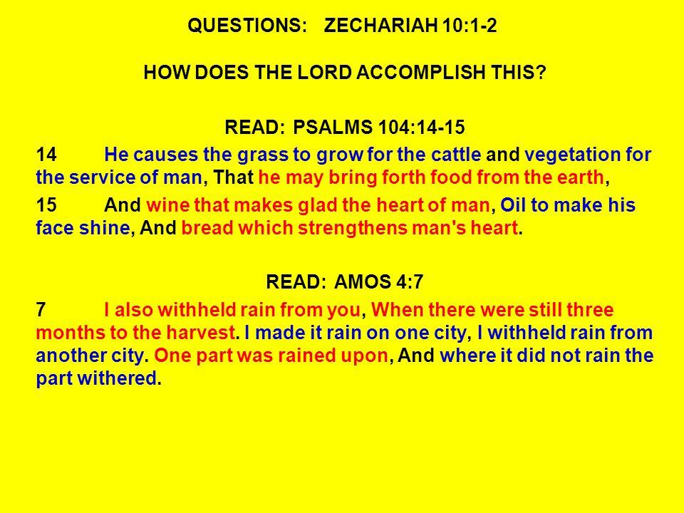 QUESTIONS:ZECHARIAH 10:5-6 6I will strengthen the house of Judah.