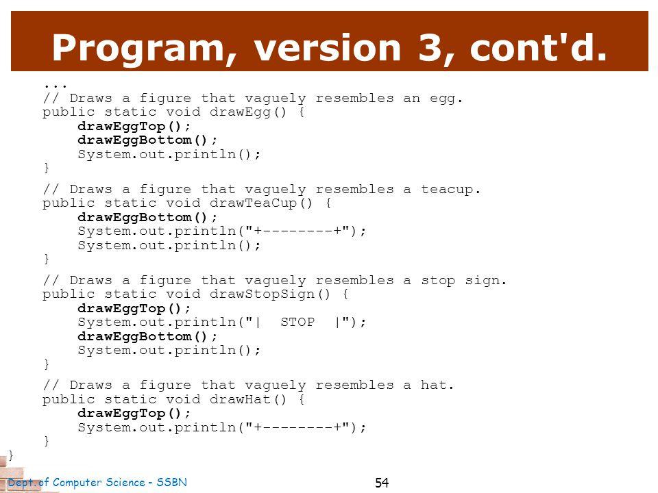 54 Program, version 3, cont d.... // Draws a figure that vaguely resembles an egg.