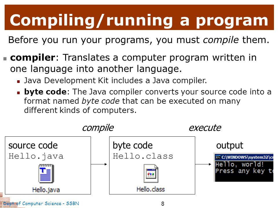 9 public class Hello2 { public static void main(String[] args) { System.out.println( Hello, world! ); System.out.println(); System.out.println( This program produces ); System.out.println( four lines of output ); } The code in this program instructs the computer to print four messages on the screen.