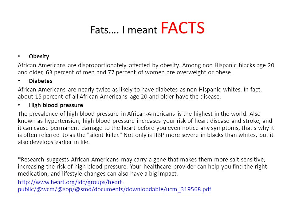 Fats…. I meant FACTS Obesity African-Americans are disproportionately affected by obesity. Among non-Hispanic blacks age 20 and older, 63 percent of m