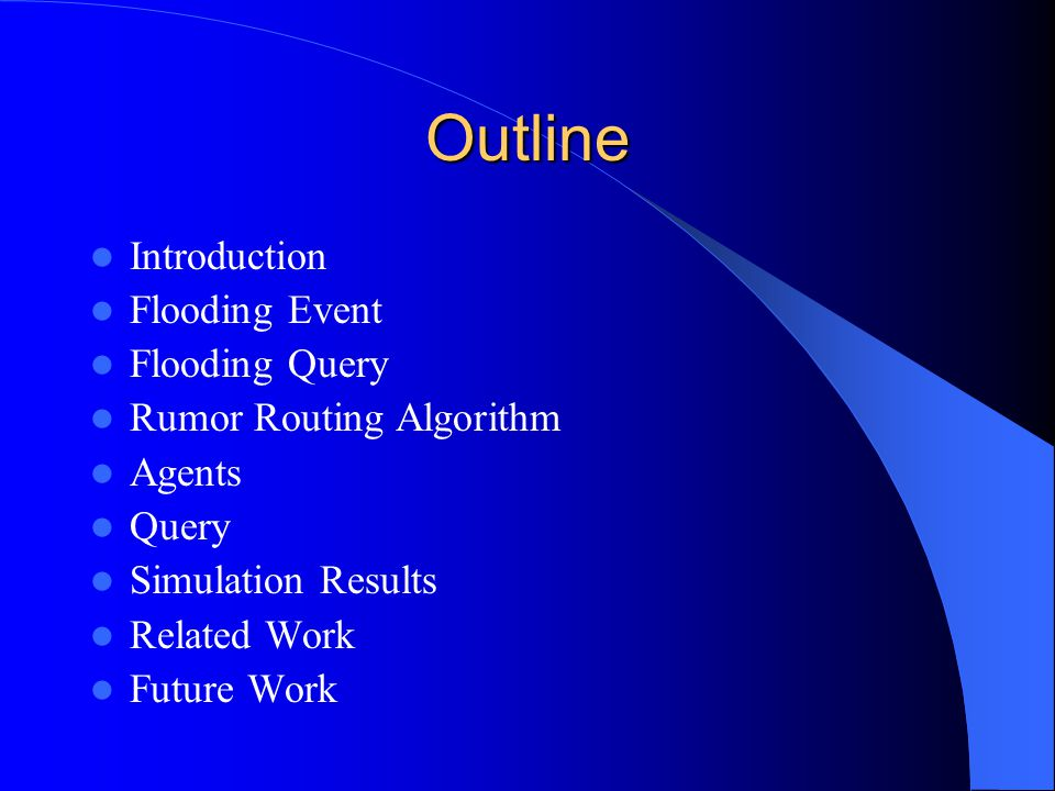 Outline Introduction Flooding Event Flooding Query Rumor Routing Algorithm Agents Query Simulation Results Related Work Future Work