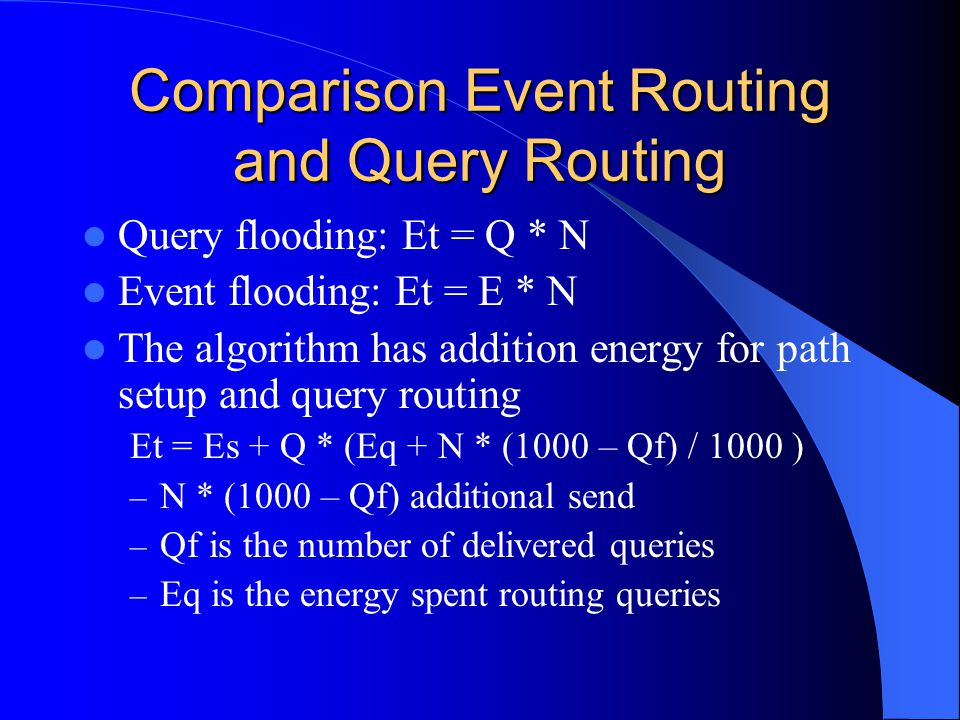 Comparison Event Routing and Query Routing Query flooding: Et = Q * N Event flooding: Et = E * N The algorithm has addition energy for path setup and query routing Et = Es + Q * (Eq + N * (1000 – Qf) / 1000 ) – N * (1000 – Qf) additional send – Qf is the number of delivered queries – Eq is the energy spent routing queries