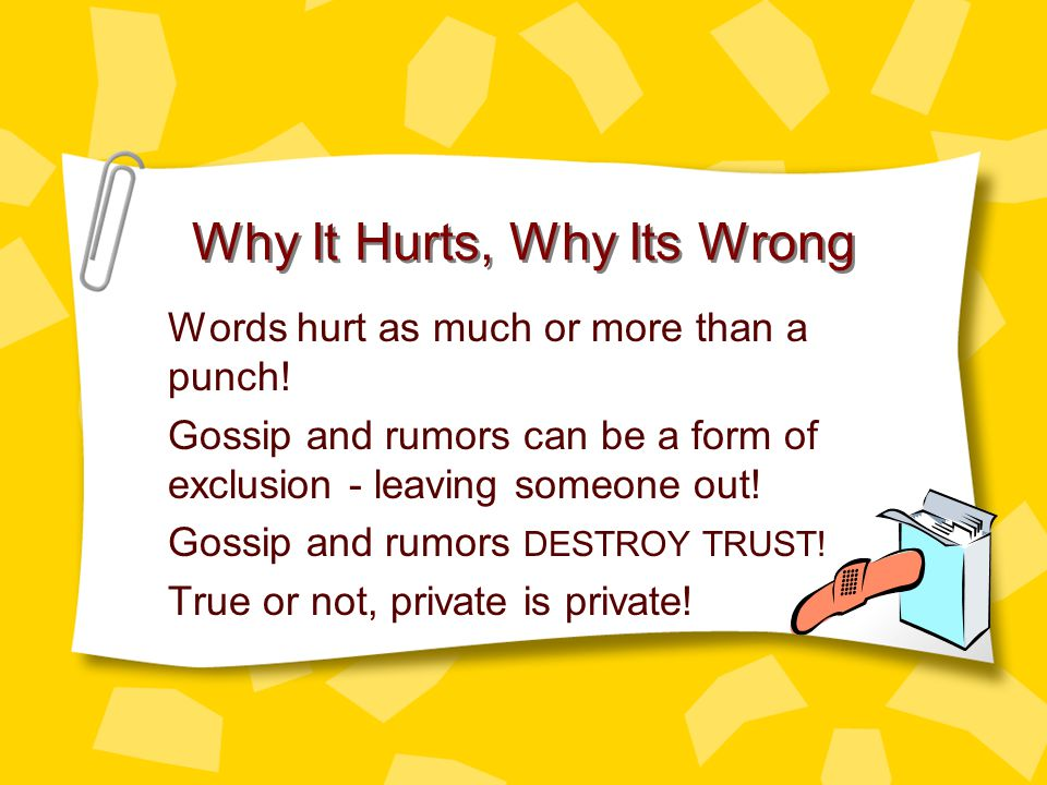 BREAKING THE CHAIN Decide whether the rumor or gossip is hurtful or harmless by asking yourself the following questions.
