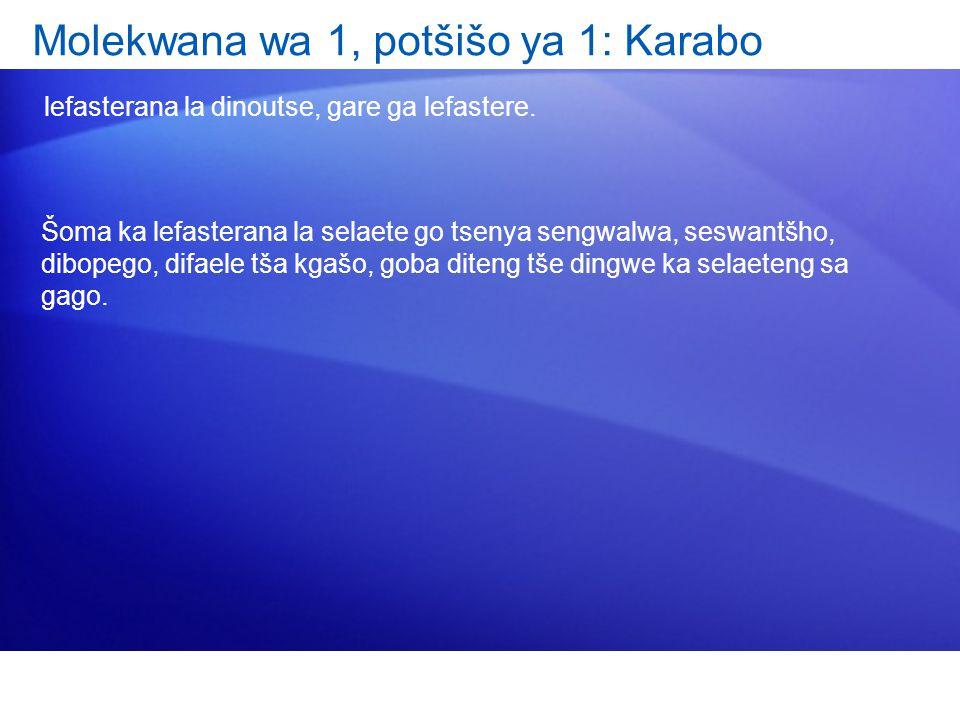 Molekwana wa 1, potšišo ya 1: Karabo lefasterana la dinoutse, gare ga lefastere.