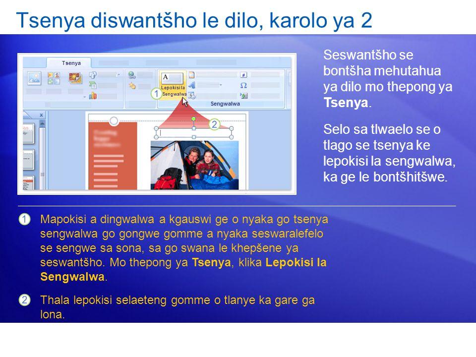 Tsenya diswantšho le dilo, karolo ya 2 Seswantšho se bontšha mehutahua ya dilo mo thepong ya Tsenya.