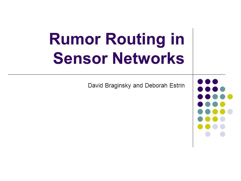 Rumor Routing in Sensor Networks David Braginsky and Deborah Estrin