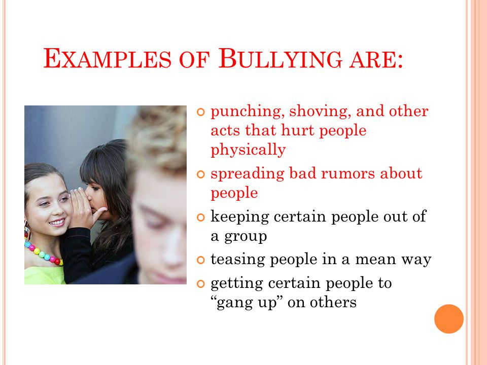 C ONCLUSION Don't bully If you are being bullied, tell an adult If you see somebody being bullied, do something.