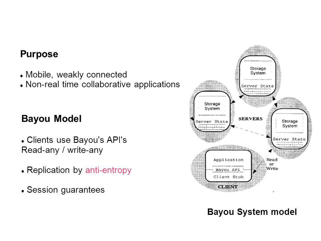 Purpose Mobile, weakly connected Non-real time collaborative applications Bayou System model Bayou Model Clients use Bayou s API s Read-any / write-any Replication by anti-entropy Session guarantees