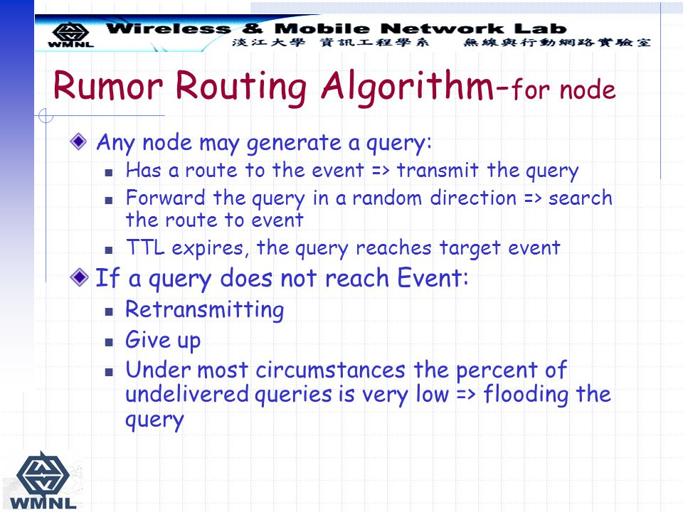 Rumor Routing Algorithm- for node Any node may generate a query: Has a route to the event => transmit the query Forward the query in a random direction => search the route to event TTL expires, the query reaches target event If a query does not reach Event: Retransmitting Give up Under most circumstances the percent of undelivered queries is very low => flooding the query