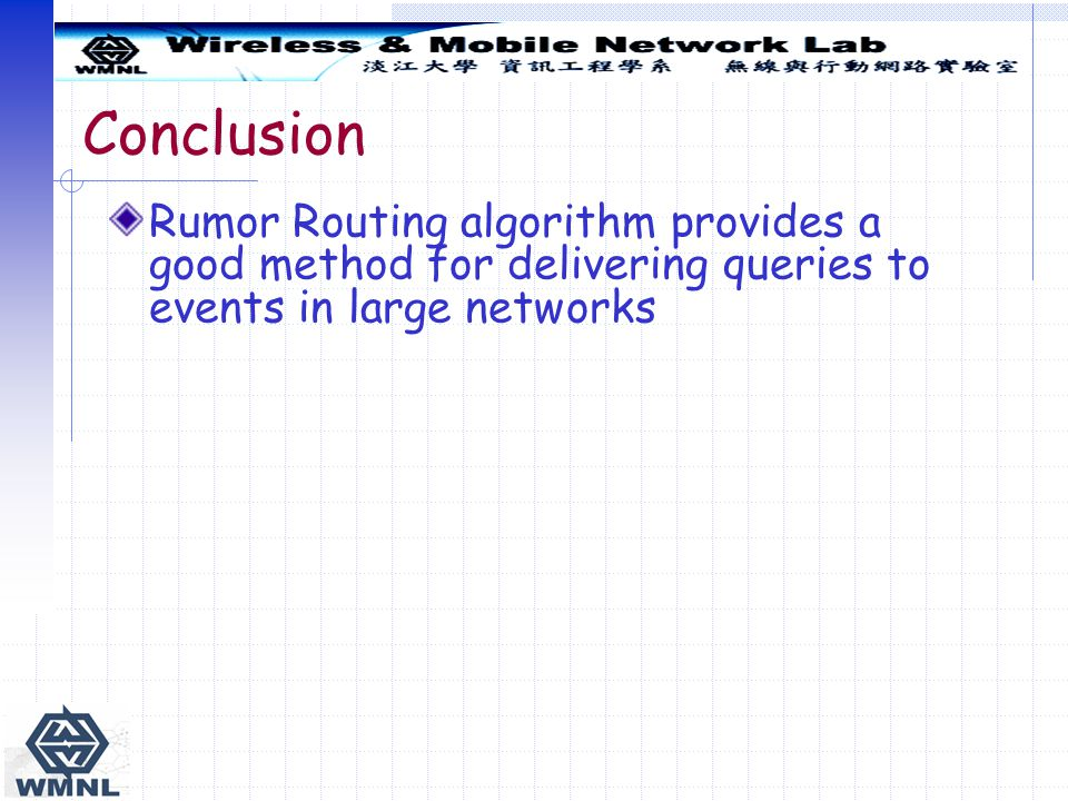Conclusion Rumor Routing algorithm provides a good method for delivering queries to events in large networks